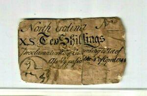 """10 SHILLING """"OLD COLONIAL"""" 1700S (NORTH CAROLINA) 10 SHILLING """"NORTH CAROLINA""""!!"""