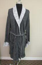 NATORI Light Black White Long Sleeve Tie Belt Pocket Short Robe Sz M GG7840