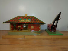 AMERICAN FLYER O GAUGE FREIGHT STATION WITH CRANE
