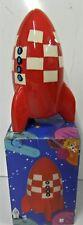 Fusée Tirelire ceramique rouge 14 cm de Haut - 14 x 8 x 8 cm - Style Tintin, esp