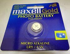 Maxell Gold LR9 1.5V Button Cell A625U V625U Micro Alkaline Battery Camera Photo