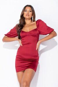 Sexy Women Silk Satin Short Sleeve Bodycon Mini Dress Party Cocktail Clubwear