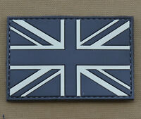 """PVC / Rubber Patch """"Subdued UK Flag Black"""" with VELCRO® brand hook"""