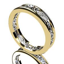 Ring 14K Two Tone Gold Finish Vintage Style Round Diamond Unique Wedding Band