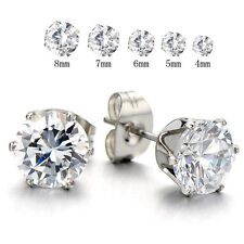 Stud Earrings Cubic Zirconia Inlaid Sexy Sparkles Jewelry Stainless Steel Womens