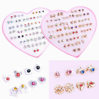 36 Pairs Fashion Women Girls Crystal Diamante Flower Stud Earrings Wholesale