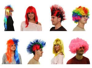 Unisex Mens Ladies   Multi-Coloured Fancy Dress Party Wigs Post Free