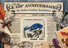 Central African Republic 2015 MNH John James Audubon 230th Ann 1v S/S Birds Art