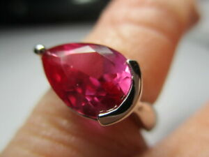 STERLING SILVER 925 ROSS SIMONS PINK TOPAZ PEAR SOLITAIRE BAND RING SIZE 6