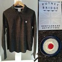 Putney Bridge Polo Shirt Sml Grey L/Sleeve Organic Cotton Wool Mod Target Design