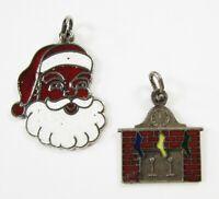Vintage Christmas Santa Charm Bracelet Sterling Silver Fireplace Stockings 1960s