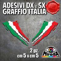 Adesivi Stickers GRAFFIO ITALIA ITALY FLAG BANDIERA DXeSX MOTO AUTO 5x5 2 PZ.