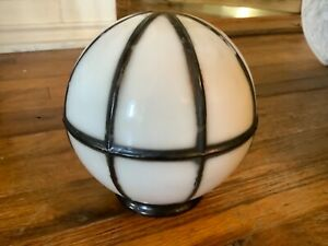 Vintage antique Art Deco Milk Glass Globe shade Light Fixture