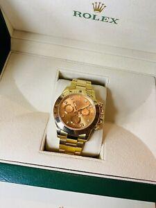 Rolex Daytona Chronograph 18k YG Champagne Diamond Dial Mens Watch Boxed 116528