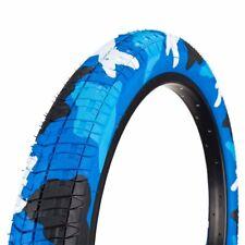 """20X2.125/"""" Vélo BMX Comp 3 Design Tread 2 Pneus Bleu Rouge Noir Gomme mur"""