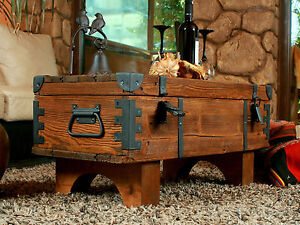 Vintage Travel Trunk Wooden Coffee Table Cottage Steamer Pine Chest Storage Box