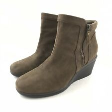 Earth Women Wedge Boot Size 10 Suede Leather Brown Double Zipper Round Toe