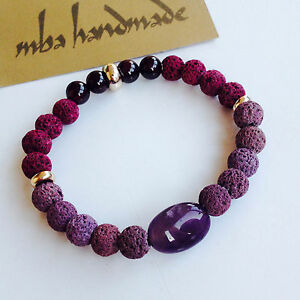 MEN'S GEMSTONE TUMBLED AMETHYST PURPLE VOLCANIC LAVA ROCK GARNET BEADED BRACELET