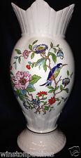 "AYNSLEY ENGLAND PEMBROKE WINDSOR VASE 8 3/8"" GOLD TRIM BIRD FLOWERS SWIRL SHAPE"