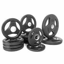 XMark Premium Quality Rubber Coated Tri-grip Olympic Plate Weights 115 lb. Set