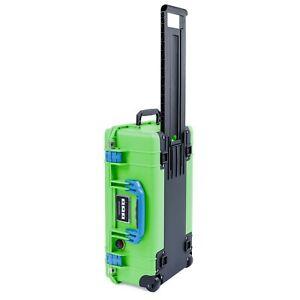 Lime Green & Blue Pelican 1535 air case No Foam.  With wheels.