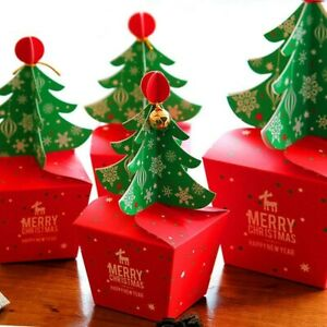 10-50X Merry Christmas Tree Party Paper Favour Gift Sweets Carrier Bags Boxes