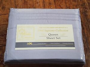 """1500 Supreme Collection Queen 14"""" deep pocket fitted Sheet Set NIB Silver/Gray"""