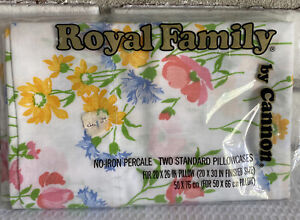 Vintage 2 Standard Pillow Cases Cannon Royal Family Percale Floral USA NEW Pkg