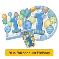 1st BIRTHDAY BALLOONS BLUE PARTY ITEMS (First/Boy) Tableware & Decorations