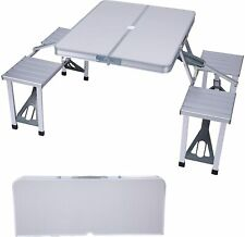 Livebest Aluminum Picnic Table Stools Portable Folding Camping Dining 4 Seat Bbq