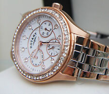 Stunning Rotary Watch Ladies Rose gold Pl. Swarovski Crystals RRP£169 used Boxed