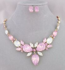 Pink Opal Essence Rhinestone Necklace Earrings Set Gold Fashion Jewelry NEW