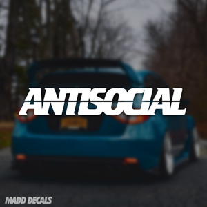 ANTISOCIAL Sticker Decal Car Anti Social Club Banner Windshield Window JDM