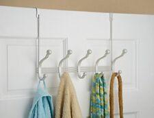 Over the Door 10 Hook Rack Coats Hats Robes Towels Hanger Bathroom Pearl White