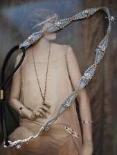 Blue Lace deco Crystal Charleston 1920s flapper headband hair band great gatsby