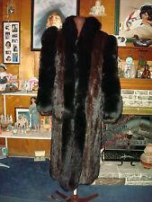 SZ M - L IMPECCABLE MAHOGANY MINK FUR COAT W/ BLACK DYED FOX EUC