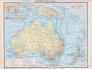 1941 MAP ~ AUSTRALIA NEW ZEALAND PRINCIPAL SHIPPING ROUTES ~ NETHERLANDS INDIES