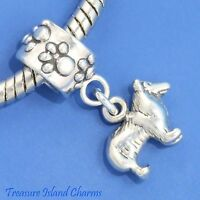 Collie Dog 925 Solid Sterling Silver European Dangle Bead Charm Euro