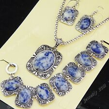 2014 Natural Purple Lucky Stones Necklace Earrings Bracelet Vintage Jewelry Set