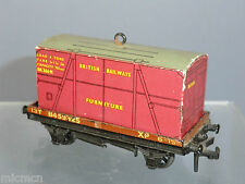 "HORNBY DUBLO 2 / 3-RAIL DI No.4647 BR LOW-SIDE WAGON + ""FURNITURE"" CONTAINER"