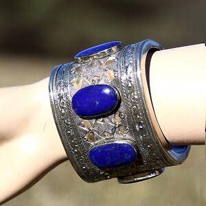 Turkoman Tribal Handmade Cuff BRACELET BellyDance LAPIS Lapiz Lazuli 738d7