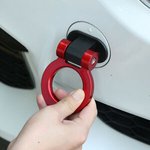 1x Red Car Track Racing Style Tow Hook Ring Decoration Sticker Car Accessories