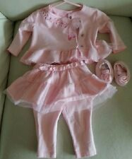 Baby Girls Outfit Vitamins Baby 0-3 Months Pink 3 pieces set Tutu Floral