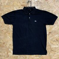 Vintage Lacoste Polo Mens Black Short Sleeve Cotton Shirt Size 4 Medium M