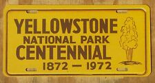 YELLOWSTONE NATIONAL PARK CENTENNIAL WYOMING MONTANA souvenir license plate 1972