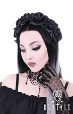 Restyle Black Roses Punk Occult Floral Emo Gothic Wreath Headband Hair Accessory