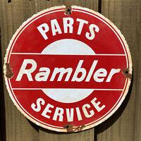 "VINTAGE RAMBLER PORCELAIN METAL SIGN GAS STATION AUTO CAR SERVICE PETROLIANA 12"""