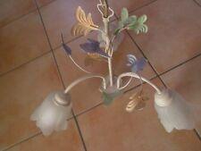 Lustre suspension fer forgé crème feuille verre forme fleur dépoli,excellent éta