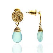 Azuni Jewellery Athena Princess Kate Gold Gemstone Drop Earrings Aqua Chalcedony