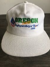 Oregon Ducks Snapback Hat 1989 Vtg Independence Bowl Corduroy White Cap Football